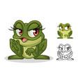 female frog cartoon character mascot design vector image
