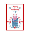 folk art ethnic style christmas card cute vector image vector image