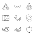 Food in morning icons set outline style vector image vector image