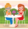 Girls friends in an outdoor cafe vector image