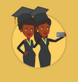 graduates making selfie vector image vector image