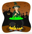 halloween young witch making potion vector image