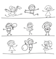 hand drawing cartoon character happy kids playing vector image vector image