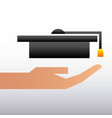 hand holding graduation hat education family vector image vector image