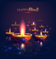 happy diwali festival of lights retro oil lamp on vector image vector image