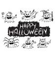 happy halloween pumpkin devil ghost art face vector image