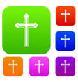 holy cross set color collection vector image vector image