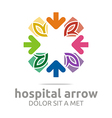 hospital arrow leaves colorful icon vector image vector image