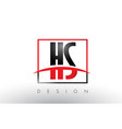 hs h s logo letters with red and black colors vector image vector image