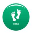 human step icon green vector image