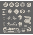 icons vintage car racing vector image