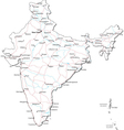 India Black White Map vector image