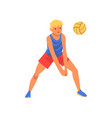 man playing with ball wearing sports uniform male vector image vector image
