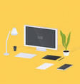modern designer workplace monitor lamp keyboard vector image