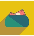Modern flat icon with shadow purse and money vector image vector image
