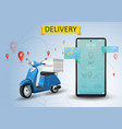 online delivery service scooter vector image vector image