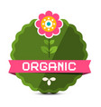 organic label with flower natural product sticker vector image vector image