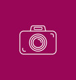 outline photo camera icon on crimson purplepink vector image vector image