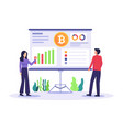 people analyze cryptocurrency chart vector image vector image