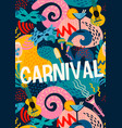poster with carnival objects and abstract vector image
