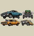 retro custom cars colorful vintage concept vector image vector image