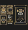 set 5 labels western style vector image vector image