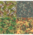 Set of seamless camouflage patterns Four kinds vector image