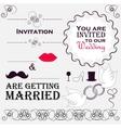 Set of wedding invitation vintage design elements vector image vector image