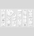 set paper receipts isolated on transparent vector image