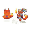 shaman fox and yogi fox fun characters in vector image vector image