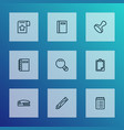 stationery icons line style set with notebook vector image