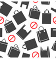 stop using plastic bags seamless pattern with flat vector image vector image