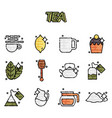 tea cartoon concept icons vector image vector image