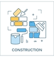 Thin line flat design of construction tools vector image