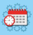 time clock calendar work planning vector image vector image