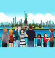 tourists taking picture near statue liberty vector image