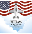 united states flag and military airplane vector image vector image