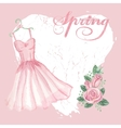 vintage spring cardwatercolor pink dress rose vector image vector image