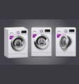 washing machine realistic set vector image vector image