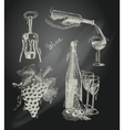 Wine chalkboard decorative set vector image