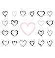 love heart calligraphic drawn gift card vector image