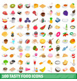 100 tasty food icons set isometric 3d style vector image vector image