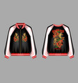 a print for a bomber or swisshot with embroidery vector image vector image