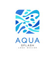 aqua splash logo design corporate identity vector image vector image