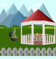 backyard garden house bbq vector image vector image