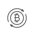 bitcoin coin sign cryptocurrency exchange line vector image vector image