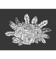 blackwork tattoo rose and feathers bouquet very vector image