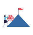 business woman climb mountain with target flag vector image vector image