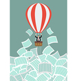 Businessman on balloon get away from documents vector image vector image