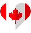 Canada flat heart flag vector image vector image